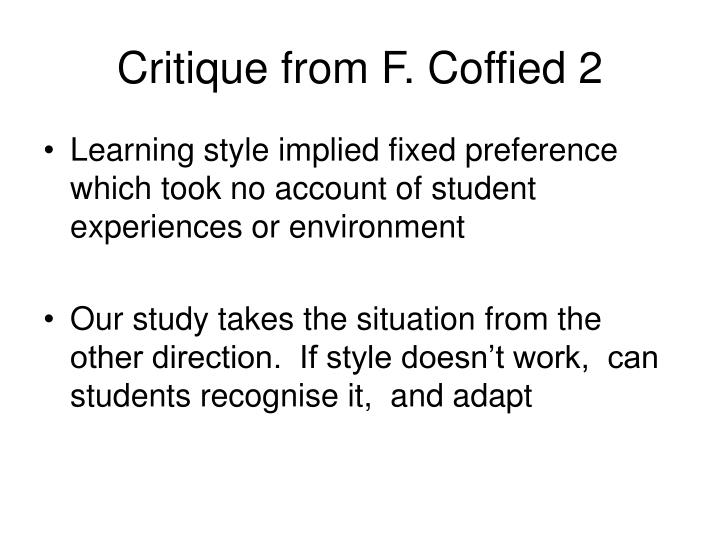 Critique from F. Coffied 2