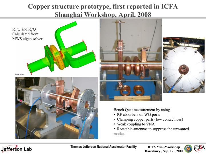Copper structure prototype, first reported in ICFA Shanghai Workshop, April, 2008