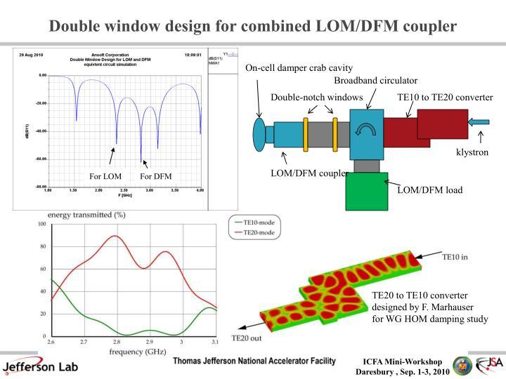 Double window design for combined LOM/DFM coupler