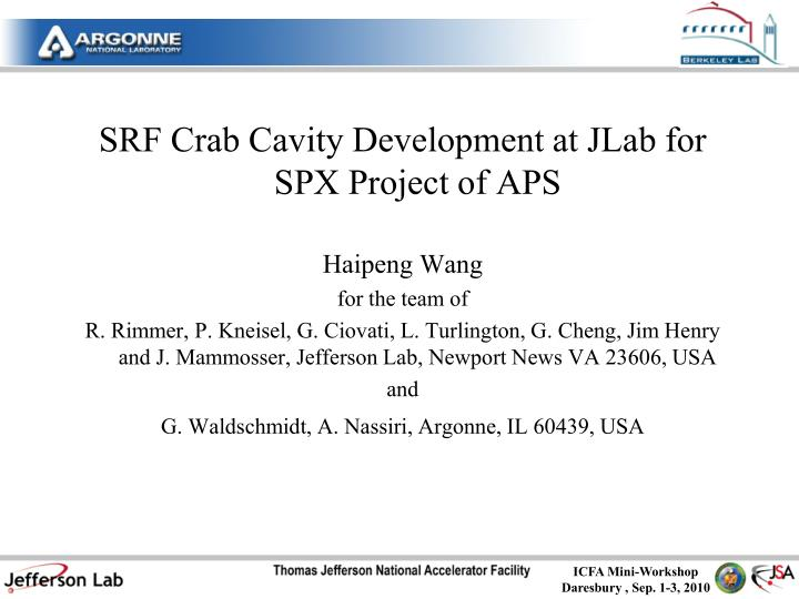SRF Crab Cavity Development at JLab for SPX Project of APS