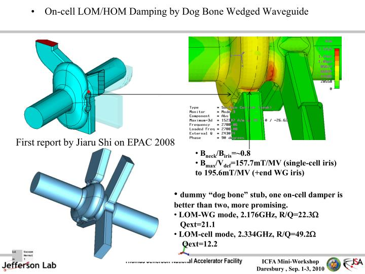 On-cell LOM/HOM Damping by Dog Bone Wedged Waveguide
