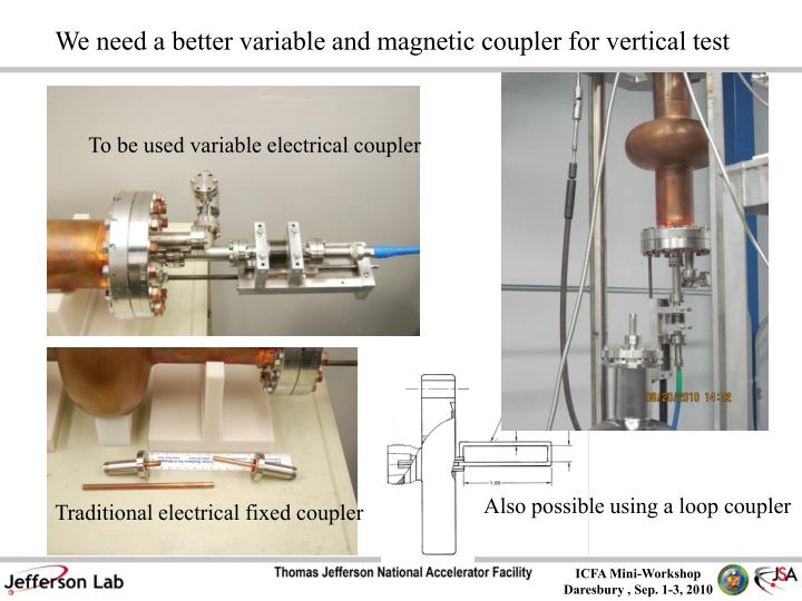 We need a better variable and magnetic coupler for vertical test