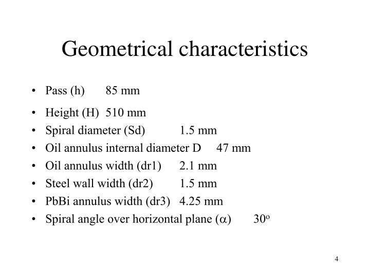 Geometrical characteristics