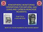 atmospheric monitoring operations for natural gas leaks and carbon monoxide incidents