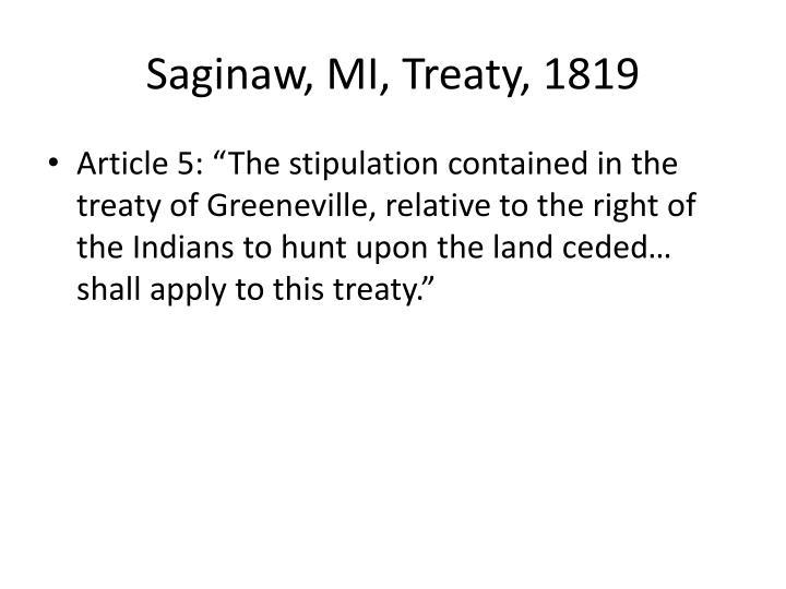 Saginaw, MI, Treaty, 1819