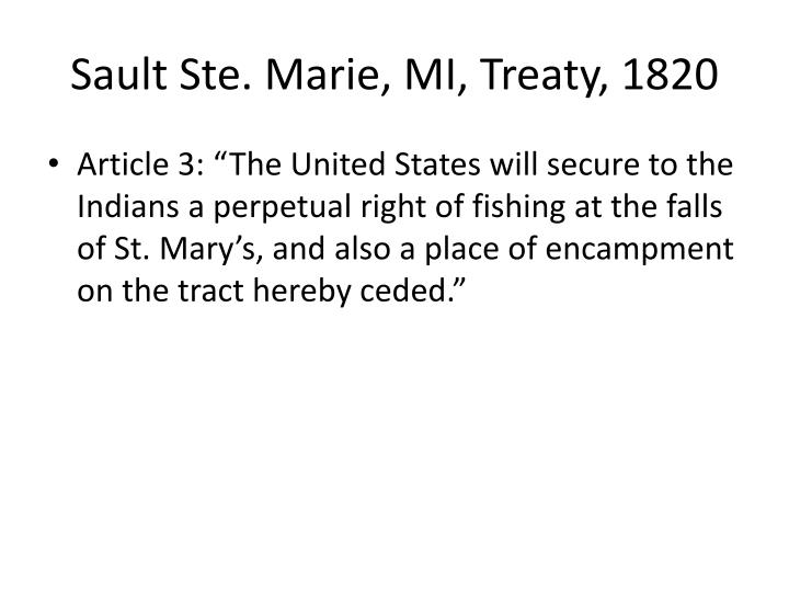 Sault Ste. Marie, MI, Treaty, 1820