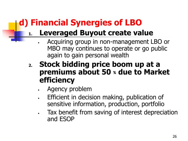 d) Financial Synergies of LBO