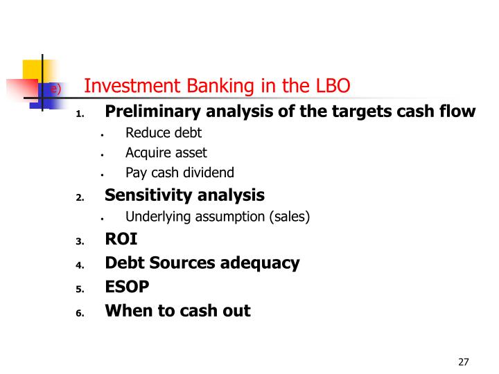 Investment Banking in the LBO