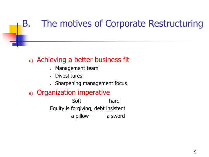 The motives of Corporate Restructuring
