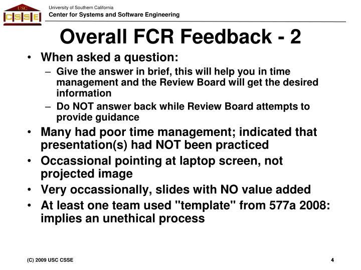 Overall FCR Feedback - 2