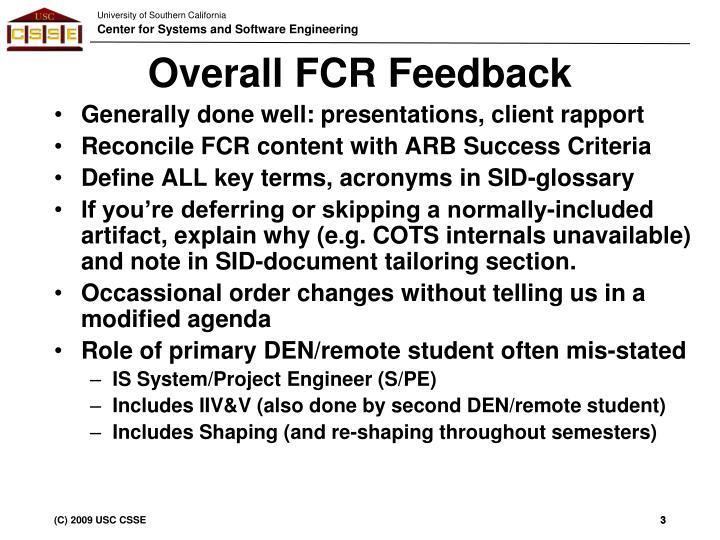 Overall fcr feedback