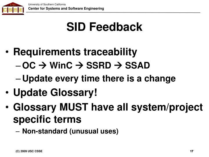 SID Feedback