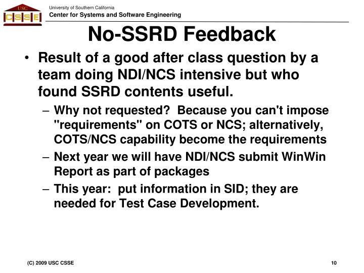No-SSRD Feedback