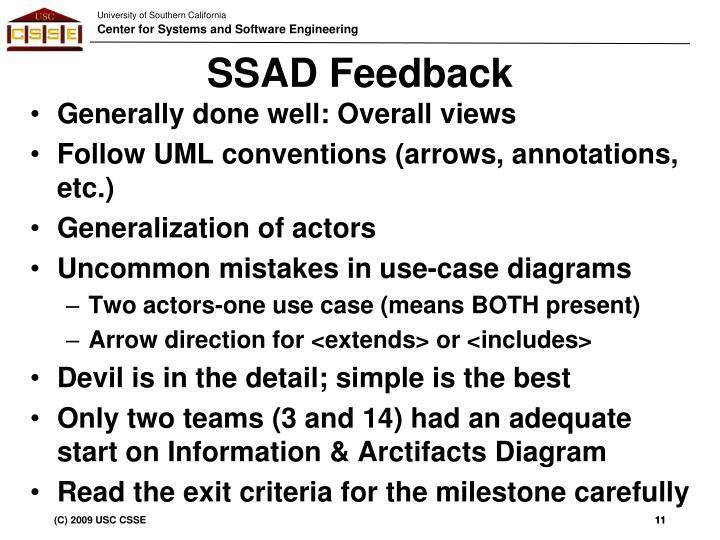 SSAD Feedback