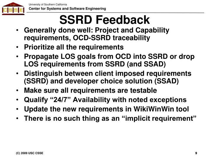 SSRD Feedback