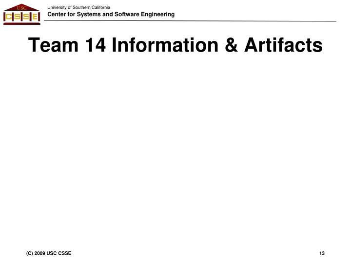 Team 14 Information & Artifacts