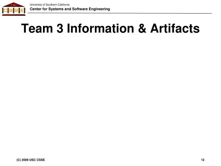 Team 3 Information & Artifacts