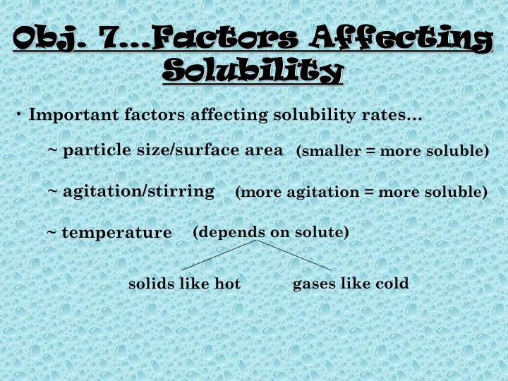 Obj. 7…Factors Affecting Solubility