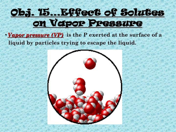 Obj. 15…Effect of Solutes on Vapor Pressure