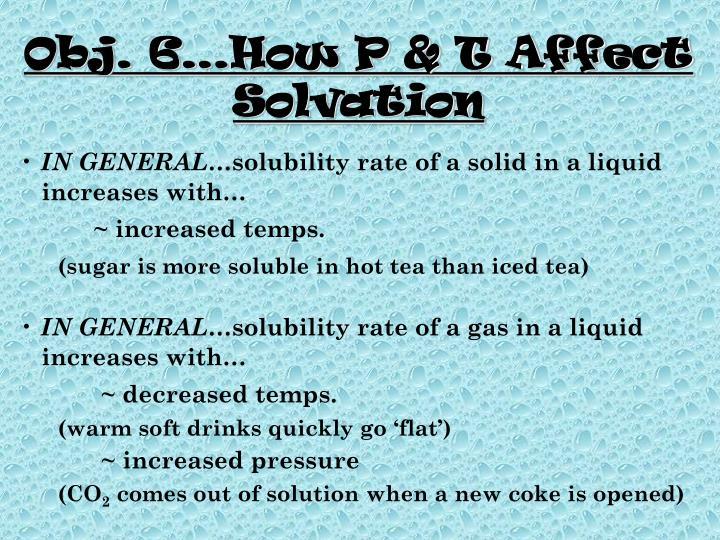 Obj. 6…How P & T Affect Solvation