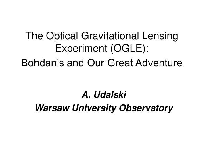 a udalski warsaw university observatory n.