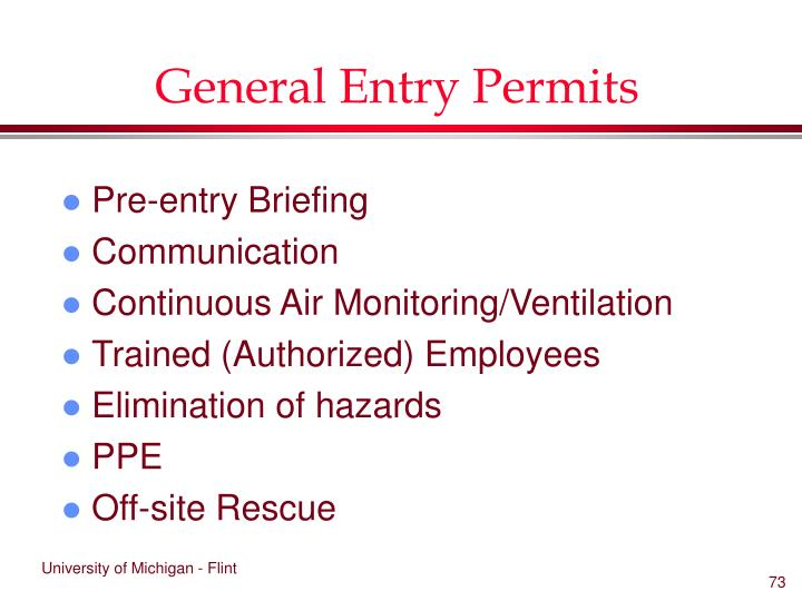 General Entry Permits