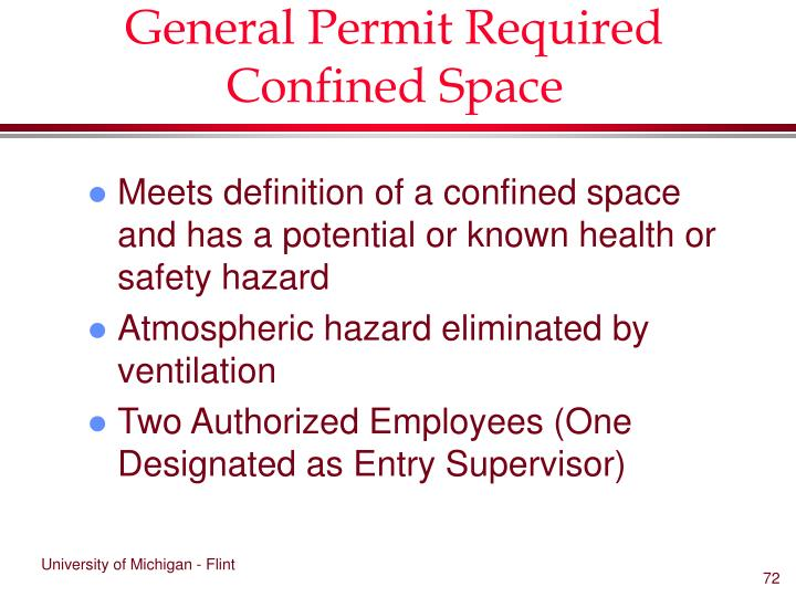 General Permit Required Confined Space