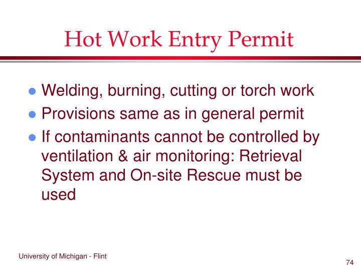 Hot Work Entry Permit