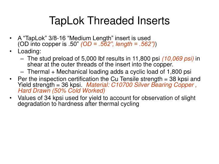 Taplok threaded inserts