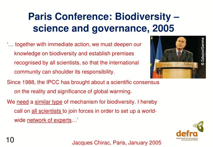 Paris Conference: Biodiversity – science and governance, 2005
