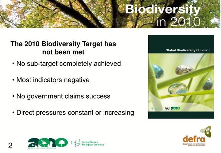 The 2010 Biodiversity Target has not been met