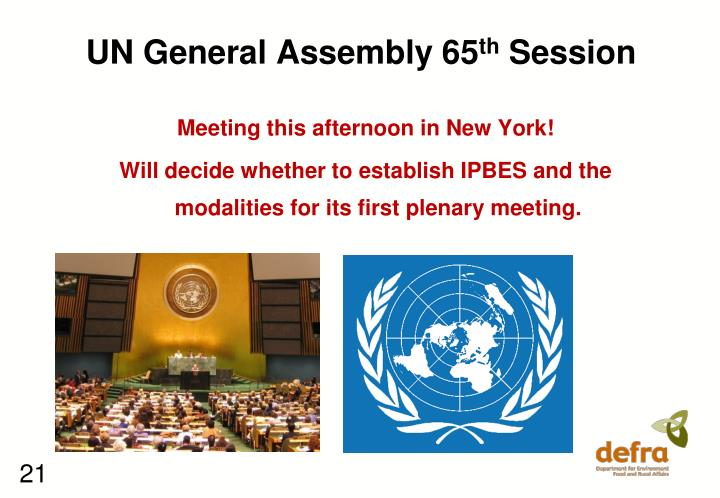 UN General Assembly 65