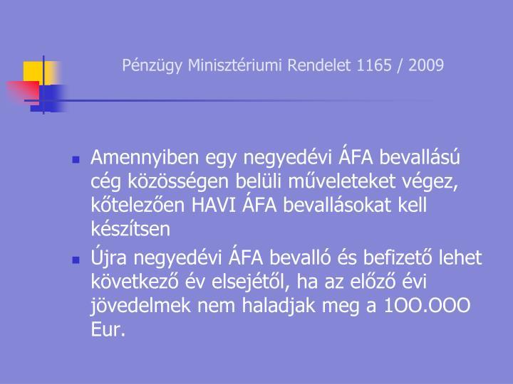 Pénzügy Minisztériumi Rendelet