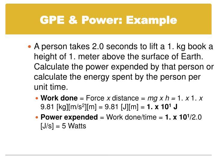 GPE & Power: Example
