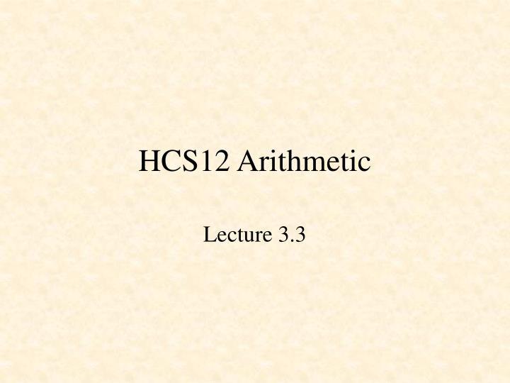 hcs12 arithmetic n.