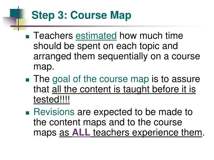 Step 3: Course Map