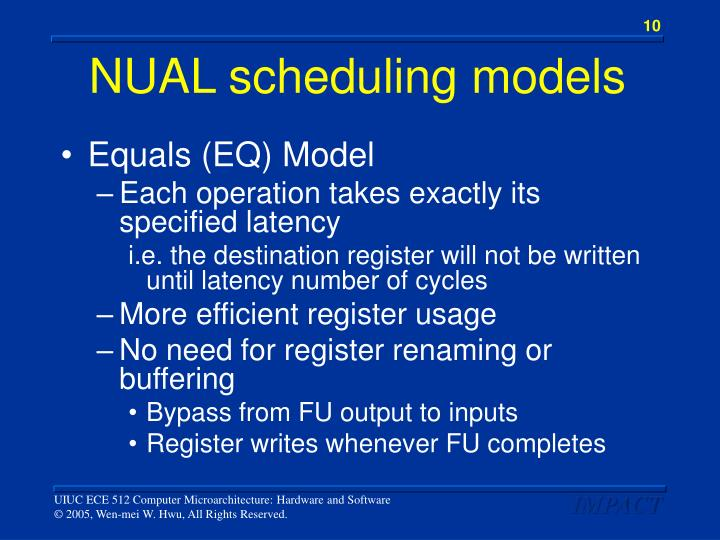 NUAL scheduling models