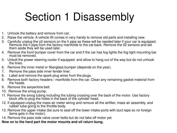 Section 1 Disassembly