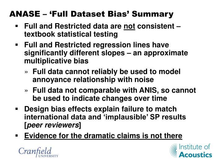 ANASE – 'Full Dataset Bias' Summary