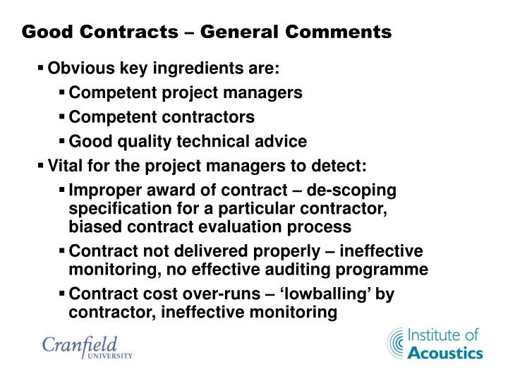 Good Contracts –