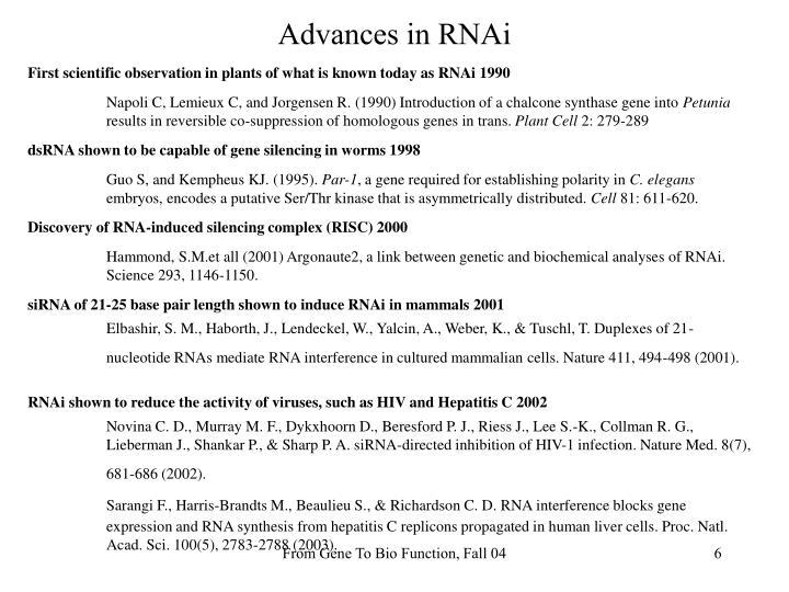 Advances in RNAi