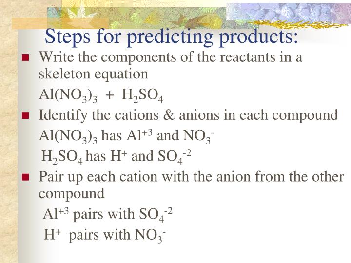 Steps for predicting products