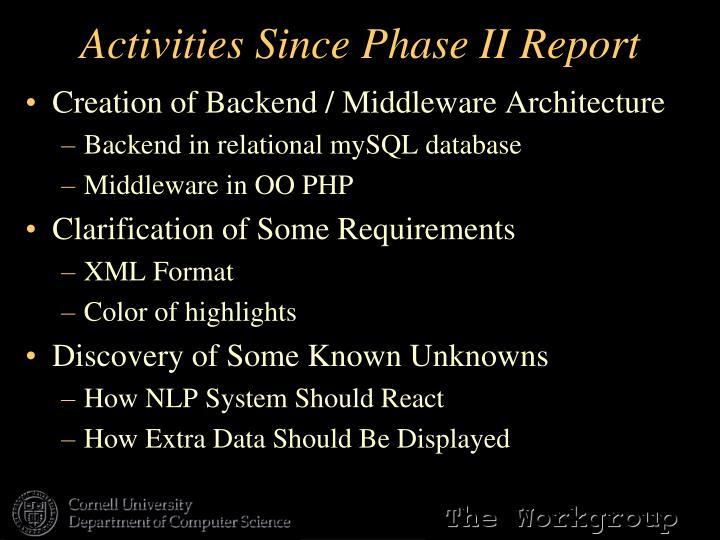Activities Since Phase II Report