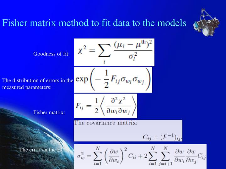 Fisher matrix method to fit data to the models