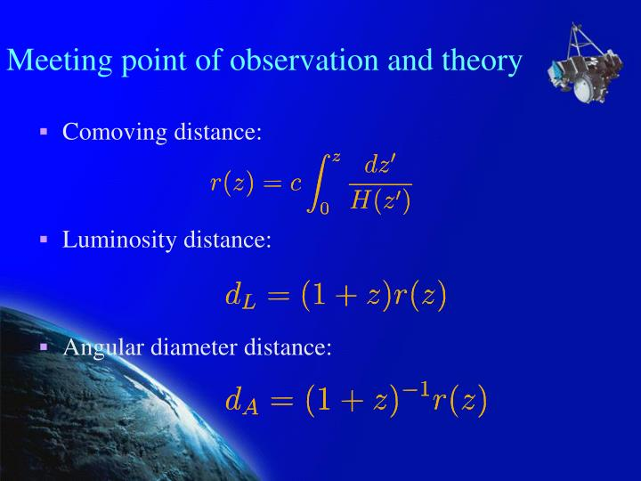 Meeting point of observation and theory