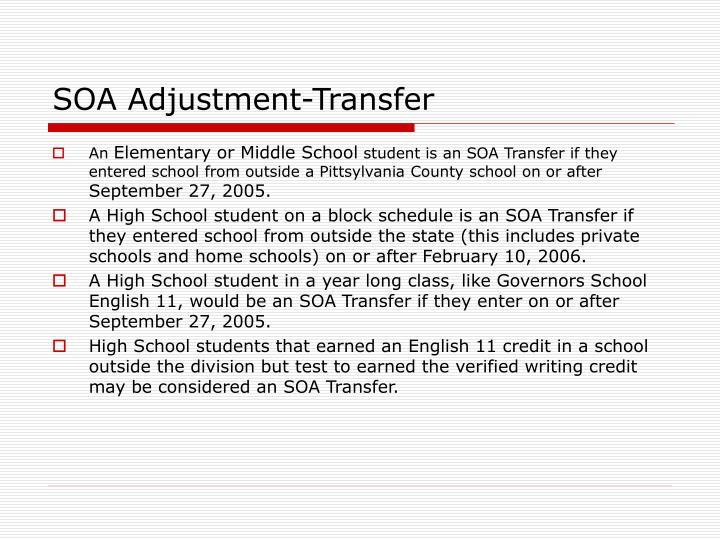 SOA Adjustment-Transfer