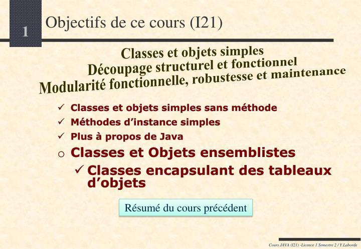 objectifs de ce cours i21 n.