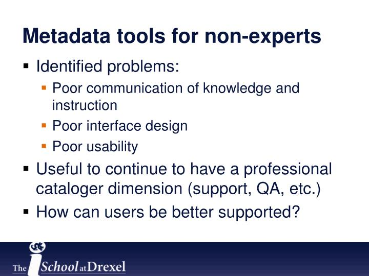 Metadata tools for non-experts