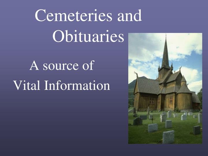 cemeteries and obituaries n.