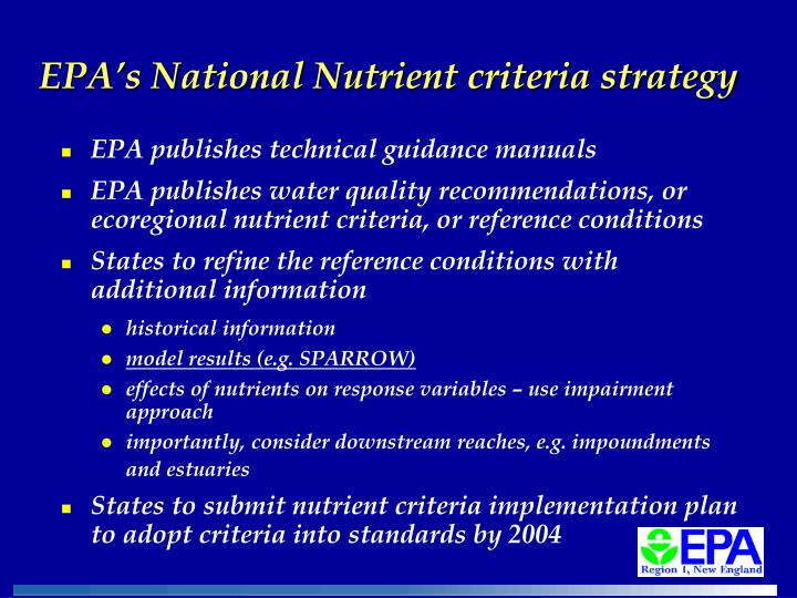 EPA's National Nutrient criteria strategy